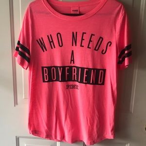 Who Needs A Boyfriend Pink Tee